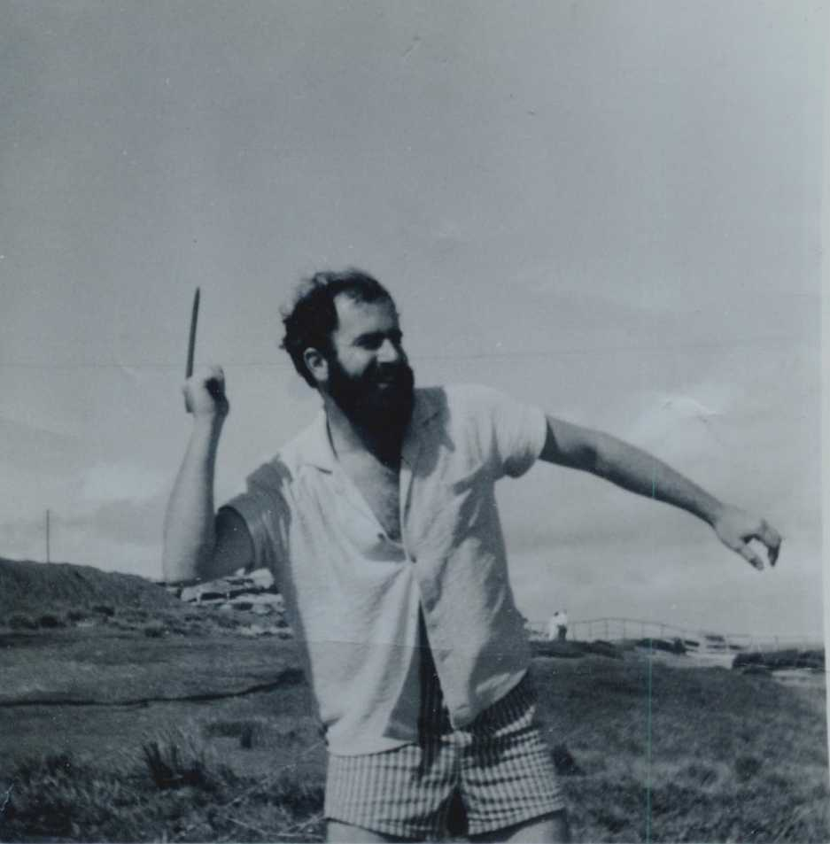Harvey Cohen throwing a boomerang
